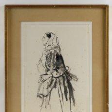 Arte: ROC RIERA ROJAS (1913-1992) ACUARELA SOBRE PAPEL ANCIANA FIRMADO. Lote 91934117