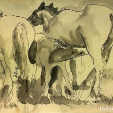 Arte: CABALLOS. DIBUJO Y ACUARELA GRIS. ESPAÑA. FIRMADO A. MUÑOZ. ESPAÑA. CIRCA 1950(?). Lote 92127930