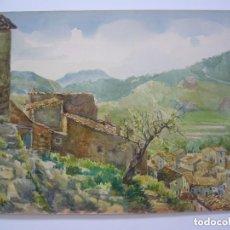 Arte: ACUARELA PAISAJE RURAL VISTA PUEBLO ANONIMO SIN FIRMA.LEER DESCRIPCION.. Lote 93086750