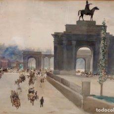 Arte: VICTORIANO CODINA LANGLIN (BARCELONA, 1844 - 1911) ACUARELA PAPEL. VISTA PARISINA. Lote 93603050