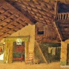 Arte: GRAN HABITACIÓN RURAL CON ALCOBA. ACUARELA SOBRE PAPEL. ESPAÑA. 1873. Lote 93684335