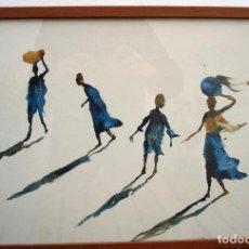 Arte: REPRODUCCIÓN ACUARELA MIQUEL BARCELÓ. CUADERNOS DE ÁFRICA, MARCO DE BUENA CALIDAD.. Lote 93712945