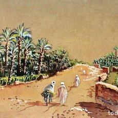Arte: OASIS CON BEDUINOS. ACUARELA SOBRE PAPEL. ANÓNIMO. ÁFRICA. SIGLOS XIX-XX. Lote 94013600
