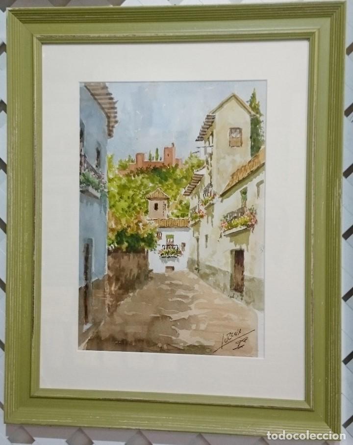 ACUARELA CALLE ALBAYZÍN CON LA ALHAMBRA AL FONDO. 48 CMS. (Arte - Acuarelas - Contemporáneas siglo XX)
