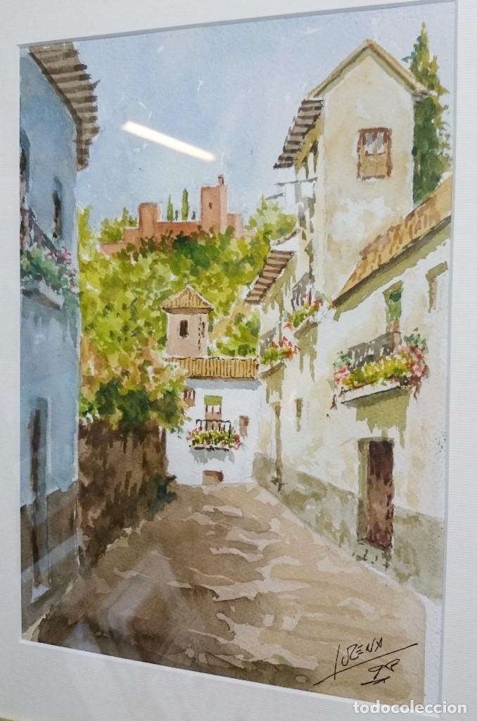 Arte: ACUARELA CALLE ALBAYZÍN CON LA ALHAMBRA AL FONDO. 48 CMS. - Foto 3 - 94166020