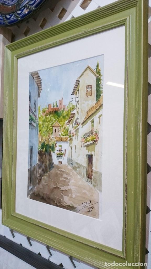 Arte: ACUARELA CALLE ALBAYZÍN CON LA ALHAMBRA AL FONDO. 48 CMS. - Foto 4 - 94166020