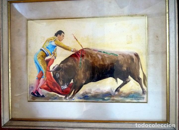 MAGNÍFICA ACUARELA TORERO ANTONIO ORDÓÑEZ FIRMADA (Arte - Acuarelas - Contemporáneas siglo XX)