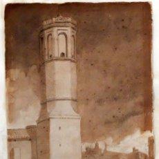 Arte: MODEST URGELL INGLADA (BARCELONA, 1839 - 1919) AGUADA SOBRE PAPEL. PAISAJE CON CAMPANAR. Lote 94565419