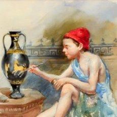 Arte: JACINT ESPINAL ALTERACHS (BARCELONA, CIRCA 1875 - ACTIVO EN 1905) ACUARELA PAPEL. JOVEN PINTANDO. Lote 94566251