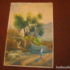 Arte: ANTIGUA ACUARELA DE SONCO CARRASCO. Lote 95210243