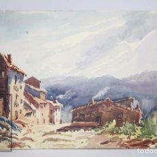 Arte: ACUARELA SOBRE PAPEL - VISTA DE PUEBLO DE MONTAÑA, DE MATEU RIBERA - AÑO 1977 - MEDIDAS 47 X 32,5 CM. Lote 95736264