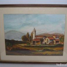 Arte: 50 CM - BELLA PINTURA ACUARELA PAISAJE RURAL PUEBLO - FIRMADA. Lote 95765135