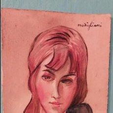 Arte: AMEDEO MODIGLIANI ARTISTA FRANCES ACUARELA EN PAPEL FIRMADO. Lote 95848987