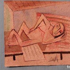 Arte: WIFREDO LAM ARTISTA CUBANO ACUARELA SOBRE PAPEL FIRMADA. Lote 95850071