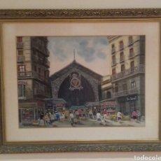 Arte: ACUARELA DEL PINTOR J. ESCAYOLA - MERCADO DE