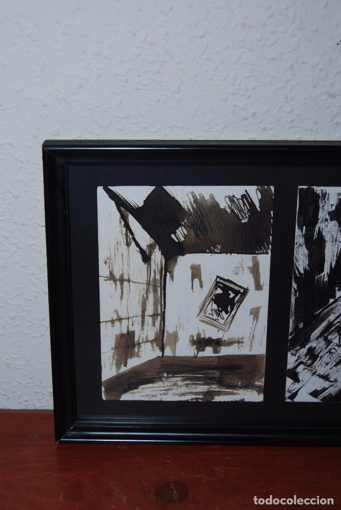Arte: DOS ACUARELAS - ACUARELA SOBRE PAPEL - ESPACIO CERRADO Y PERSONAJE - FIRMADO - Foto 2 - 95898363
