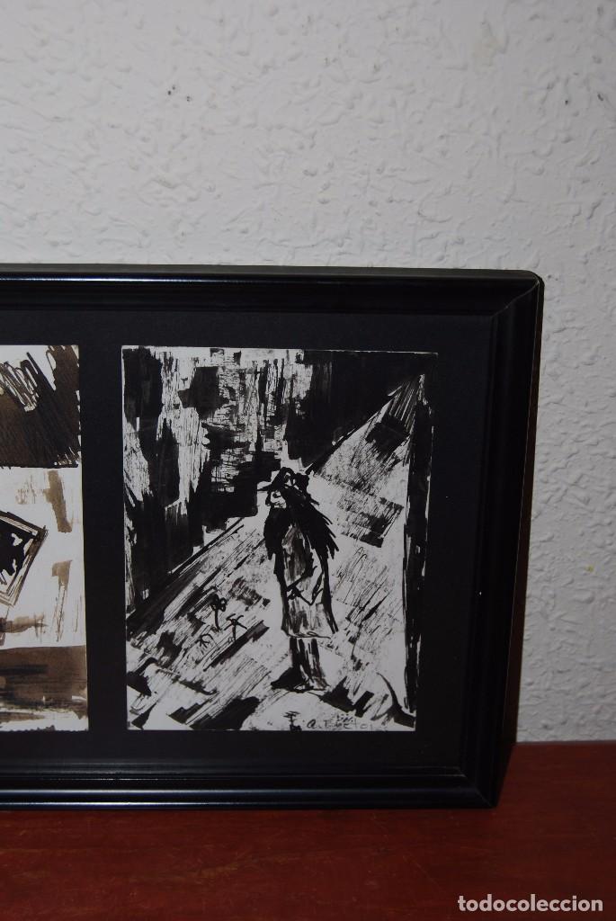 Arte: DOS ACUARELAS - ACUARELA SOBRE PAPEL - ESPACIO CERRADO Y PERSONAJE - FIRMADO - Foto 3 - 95898363