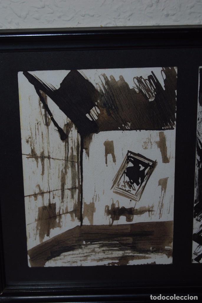 Arte: DOS ACUARELAS - ACUARELA SOBRE PAPEL - ESPACIO CERRADO Y PERSONAJE - FIRMADO - Foto 4 - 95898363