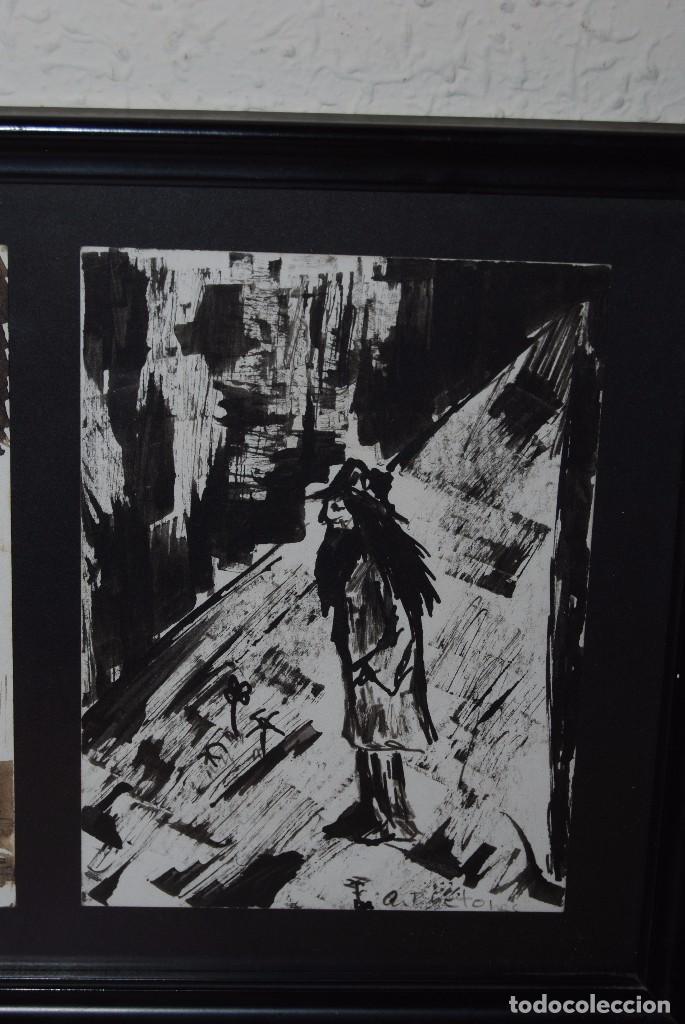 Arte: DOS ACUARELAS - ACUARELA SOBRE PAPEL - ESPACIO CERRADO Y PERSONAJE - FIRMADO - Foto 5 - 95898363