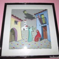 Art - *(18T)-cuadro con marcco-acuarela?-firmada:sanguinetti-perfecto estado-ver medidas y fotos. - 94780803