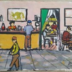 Arte: ACUARELA FIRMADA CAFÉ CAN BASSA L'AMETLLA DEL VALLES. Lote 96089642