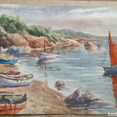 Arte: ANTIGUA ACUARELA DE J. VILLENA 57X38. Lote 96093947