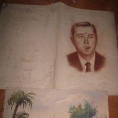 Arte: ACUARELA ANTIGUA PINTURA ALICANTINA ALMENDROS PALMERAL Y RETRATO ORIGINAL MISMA PROCEDENCIA. Lote 96098035