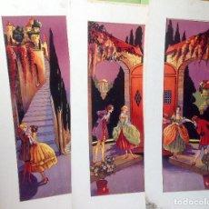 Arte: LOTE DE 3 ANTIGUAS PINTURAS , ILUSTRACIONES ORIGINALES DE UN CUENTO , AÑOS 60 . Lote 96458259