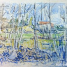 Arte: PAISAJE CAMPESTRE. ACUARELA SOBRE PAPEL. FIRMA INDESCIFRABLE. ESPAÑA. 1953. Lote 96527699