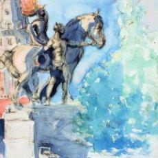 Arte: BARCELONA. PLAZA DE CATALUNYA. ACUARELA SOBRE PAPEL. ESPAÑA. CIRCA 1950. Lote 96600759