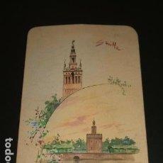 Arte: SEVILLA TORRE DEL ORO Y GIRALDA TARJETA CON ACUARELA 1895. Lote 96620295