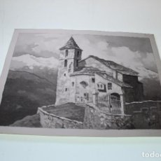 Arte: IGLESIA O SANTURARIO DE MONTAÑA - ACUARELA EN BLANCO Y NEGRO - 38 X 28 - REF.:A07. Lote 96646883