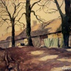 Arte: GRANERO EN EL BOSQUE. PINTURA ACUARELA SOBRE PAPEL. ANÓNIMO. ESPAÑA(?). CIRCA 1950. Lote 96686595