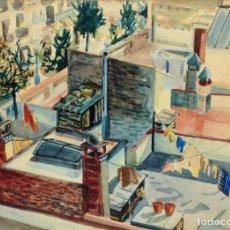 Arte: AZOTEA EN BARCELONA. ACUARELA SOBRE PAPEL. FIRMADO ROURA. ESPAÑA. CIRCA 1940. Lote 97056955