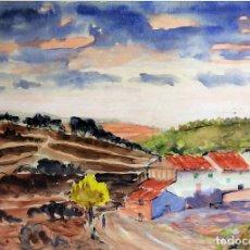 Arte: PUEBLO EN LAS MONTAÑAS. PINTURA ACUARELA SOBRE PAPEL. ANÓNIMO. ESPAÑA. CIRCA 1950. Lote 97137919