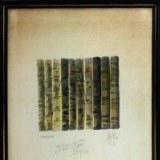 Arte: POEMA DEL BOSC. ACUARELA SOBRE PAPEL. FIRMA DESCONOCIDA. ESPAÑA. 1987. Lote 97216603