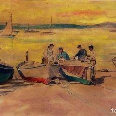 Arte: BARCAS DE PESCA EN LA PLAYA. ACUARELA SOBRE PAPEL. FIRMADO ROCA. ESPAÑA. CIRCA 1930. Lote 97306183