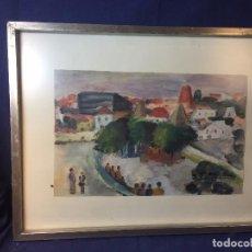 Arte: ACUARELA GOUACHE PUEBLO PLAZA FIRMADA MA JESUS MUÑOZ AÑOS 70 ENMARCADA PLATA 52X67CMS. Lote 97470831