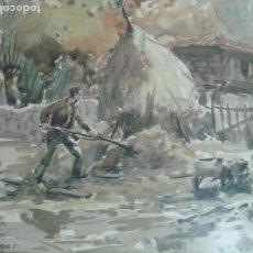 Arte: ACUARELA COSTUMBRISTA AÑOS 70 ASTURIAS MIGUEL ACEVEDO. Lote 97565723