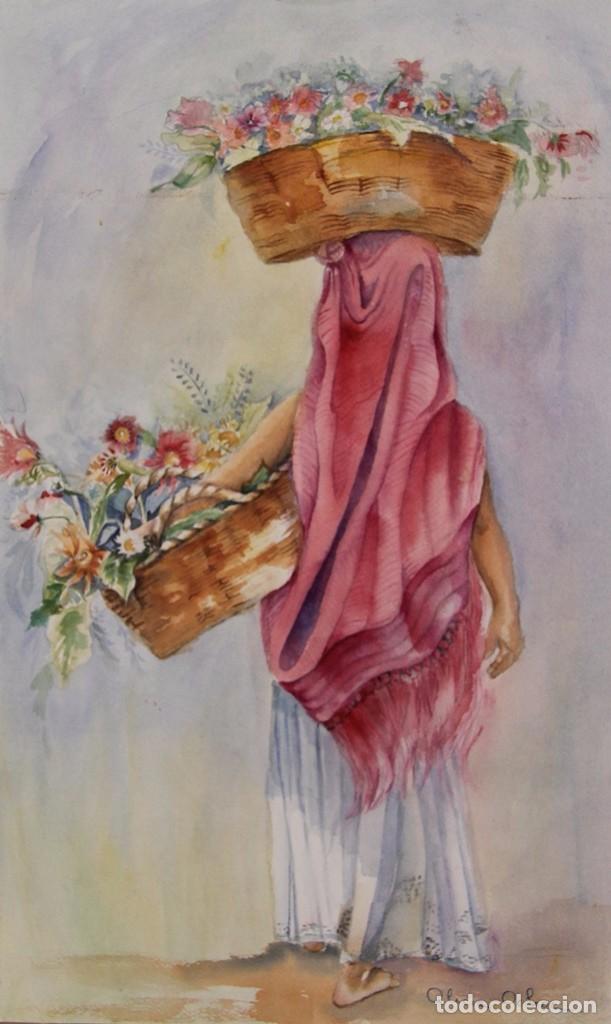ACUARELA PINTURA DE ALICIA OCHOA MEJICO LA VENDEDORA DE FLORES PINTADA SOBRE CARTON SIN ENMARCAR (Arte - Acuarelas - Contemporáneas siglo XX)