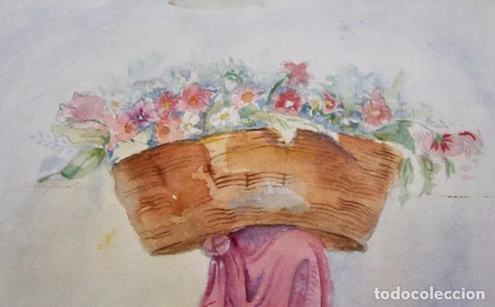 Arte: ACUARELA PINTURA DE ALICIA OCHOA MEJICO LA VENDEDORA DE FLORES PINTADA SOBRE CARTON SIN ENMARCAR - Foto 3 - 97577531