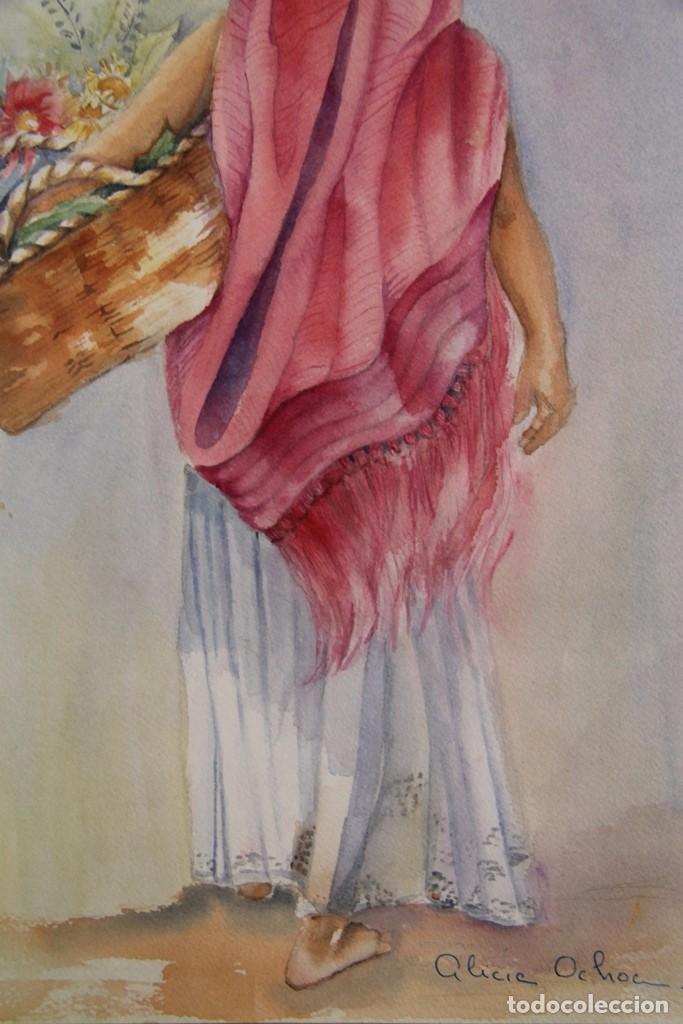 Arte: ACUARELA PINTURA DE ALICIA OCHOA MEJICO LA VENDEDORA DE FLORES PINTADA SOBRE CARTON SIN ENMARCAR - Foto 7 - 97577531