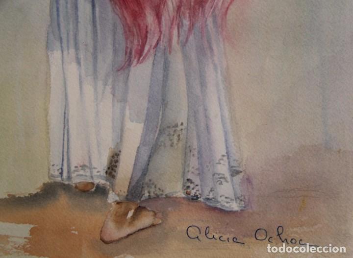 Arte: ACUARELA PINTURA DE ALICIA OCHOA MEJICO LA VENDEDORA DE FLORES PINTADA SOBRE CARTON SIN ENMARCAR - Foto 8 - 97577531