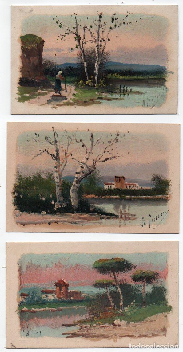 3 POSTALES PINTADAS A MANO - FIRMA (?) - AÑOS 1918-21 (Arte - Acuarelas - Contemporáneas siglo XX)