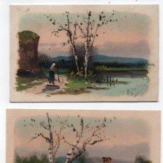Art: 3 POSTALES PINTADAS A MANO - FIRMA (?) - AÑOS 1918-21. Lote 97586823