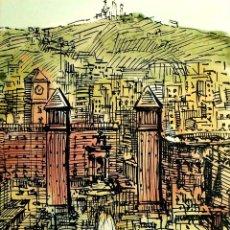 Arte: 7 VISTAS DE BARCELONA. TÉCNICAS DIVERSAS SOBRE PAPEL. FIRMADO C. BALLESTERO. ESPAÑA. XX. Lote 97774643