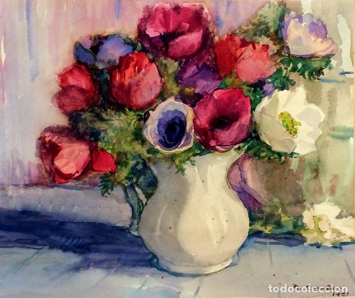 jarrón con flores. pintura acuarela sobre papel - Comprar Acuarelas ...