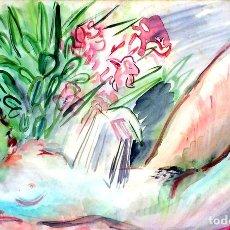 Arte: DESNUDO FEMENINO. PINTURA ACUARELA SOBRE PAPEL. FIRMADO FLUVIÁ. ESPAÑA. 1954. Lote 97933839