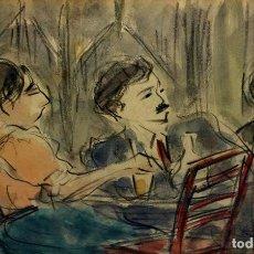 Arte: PAREJA EN UN BAR. PINTURA A LA ACUARELA SOBRE PAPEL. FIRMADO. ESPAÑA. CIRCA 1950. Lote 97937023