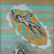 Kunst - Gouache y acuarela sobre papel Personaje sentado y figura firma ilegible fechado 82 - 98012647